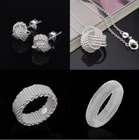 Wholesale Earring Necklace Bangle - Silver Jewelry Sets Hot Sale Earrings Necklaces Bracelets Bangles Rings Set for Women Girl Party Gift Fashion Jewlery Wholesale 001YDHT