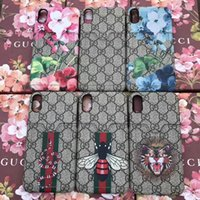 Wholesale Tiger Cards - luxury brand printing tiger snake flower card slot mobile phone shell case for iphone X 7 7 plus 8 hard back cover for iphone 6 6S 6 plus