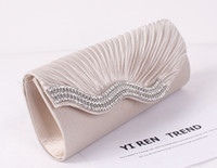 Wholesale Evening Clutch Handbags Satin - High Quality Women's Satin Evening Bags Crystal Beads Bridal Hand Bags Clutch Box Handbags Wedding Clutch Purse for Women