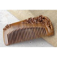 Wholesale Carve Wooden Comb - Green Sandalwood Carved Flowers Wooden Comb Head Massage Relax