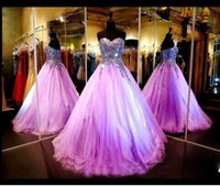 Wholesale Strapless Full Length Sequin Gown - 2017 Light Purple Quinceanera Dresses Bling Sexy Strapless Sequin Ball Gown Full Length Formal Evening Gowns Prom Gowns BO9261