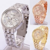 Wholesale Geneva Watch Bling - 3 Colors Luxury Quartz Diamond Stainless Steel Crystal platinum Watch Unisex Men Women Faux Plated Geneva Bling Ladies Clock wrist Watches