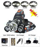 Wholesale Charger Leads - 8000 Lumens Headlight 3 LED Cree XM-L T6+2R5 Head Lamp High Power LED Headlamp +2*18650 battery+EU US AU UK Charger+car charger