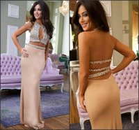 Wholesale Draped Jersey Dress - Two Pieces Major Beading On Bodice Sparkling Prom Dresses 2017 Keyhole Neck Sexy Backless Sheath Jersey Rhinestones Pageant Gowns BA1064