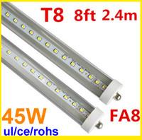 Wholesale Led Tube Tuv - 8ft led light FA8 single pin LED tube 2400mm T8 LED bulb tubes SMD 2835 192 PCS 45W AC85-265V UL.CE ,TUV