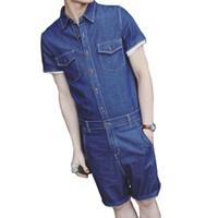 Wholesale Young Leather Men - Fashion Men Sets Jumpsuit Retro Mens Rompers Side Pocket Slim Body Young Street Wear Jumpsuits Romper Overalls Union Suit 2018