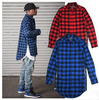 Hip Hop Mens Red Plaid Shirts Langarmseite Reißverschluss Mann Extended Casual Slim Fit Stilvolle Kleid Shirts