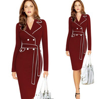 Wholesale Elegant Womens Suits - Dresses for womens Europe and the United States elegant ladies dress suit pencil long dress Plush size S--XXXL bodycon dress for women