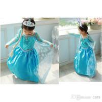 Wholesale Dream Clothing - Frozen dress costumes long sleeve skirt Princess Elsa party wear clothing for Halloween Saints'Day frozen Princess dream dress(1701009)