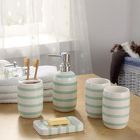 Wholesale Product Room - Ceramic Bathroom Accessories Toothbrush Holder Dispenser Soap Dish Cups 5piece  Set Green Striped Home Hotel Bath Room Products