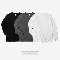 mejores camisas transpirables al por mayor-La mejor calidad nueva tendencia para hombre camiseta larga transpirable de cuello largo o-cuello camisetas sólidas moda para hombre Street Plus Size Tops tee