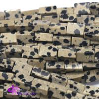 halskette rechteck perlen großhandel-Natürliche Schwarz Weiß DALMATION Stein Platz Rechteck Form Lose Stein Perlen Fit Schmuck DIY Halsketten oder Armbänder 15,5