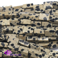 "Wholesale Black Stone Cube - Natural Black White DALMATION Stone Square Rectangle Shape Loose Stone Beads Fit Jewelry DIY Necklaces or Bracelets 15.5"" 03767"