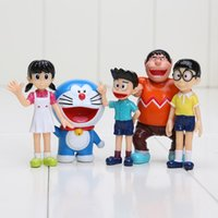 5pcs / set Anime Cartoon Cute Doraemon PVC Action Figure Collectible Modèle Toy Doll Kids Gift 5-7cm en gros