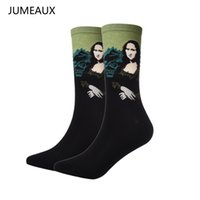Wholesale Green Abstract Painting - Wholesale- JUMEAUX 2 Pairs Hot Men Socks Art Abstract Painting Pattern Series Of Cotton Socks In Tube Retro Harajuku Street Fashion Socks