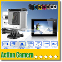 Wholesale Sports Waterproof Dv Camera Video - W9 2 inch Screen Wifi Version Action Camera 30M Waterproof 1080P FHD Extreme Sports Mini DV Diving Video Camera