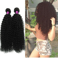 Wholesale Weave Curly Hair Extensions - Brazilian Curly Virgin Hair Wefts 4 Bundles Natural Black Brazilian Kinky Curly Hair Weaves Brazilian Deep Curly Virgin Human Hair Extension
