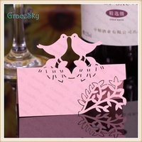 Wholesale Marriage Card Decoration - 50X FreeShipping New Wedding Invitation Party Decorations Laser Cutting Place Seat Name Card Lovely Birds with Leaf Flower Paper Table Decor