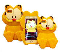 Wholesale Ace Plus Casing - 3D Cartoon Silicone Rubber Garfield Back Cover Case For iPhone 4 5 6 6S Plus Samsung S5 S6 Edge Grand Prime Core G530 G360 A5 A7 J1 ACE