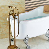 Wholesale fix telephone - Wholesale And Retail Antique Brass Bathroom Floor Mounted Tub Faucet Hand Shower Telephone Style Tub Filler Mixer Tap