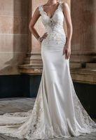 Wholesale Thick Satin Wedding Gowns - heavily embellished bodice elegant sheath wedding dresses 2018 chapel train sleeveless thick strap v neck wedding gowns