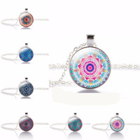 Wholesale Vintage Jewelry India - TOMTOSH Vintage Jewelry Silver with Symbol Buddhism Mandala Glass Yoga Pendant Choker Glass Necklace India Jewelry