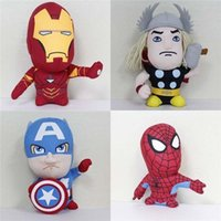 Wholesale men doll toys video for sale - 7 inch The Avengers Plush Doll new Super hero Spider Man Thor Iron Man Captain America Wolverine Plush toy style B001