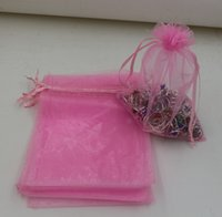 Wholesale hot pink gift bags - Hot Sales ! Pink Organza Gift Bags 7x9cm , 9x11 cm .13x18 cm 17x23cm .20x30cm With Drawstring (b0012)