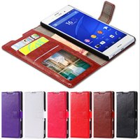 Wholesale Xperia Mini Case - Wallet Flip PU Leather Case Cover With Card Slot Photo Frame Stand For Sony Xperia Z3 Z4 Mini E3 E4 E4g Z5 M5