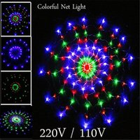 Wholesale Spiders Lights - Waterproof RGB Spider LED Net String 1.2M 120 LED Colorful Light Christmas Party Wedding LED Curtain String Lights Gadern Lawn Lamp