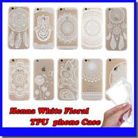 Wholesale Elephant Phone - White Floral Paisley Flower Mandala Elephant Dream Catcher TPU Back phone Case Cover For iPhone 5 6 Plus Samsung Free shipping