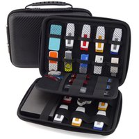 Vente en gros-Big Promotion Original 3 couches Portable Carry Cable organisateur mobile HDD sac étui USB Flash Drive Case embrayage sac à main noir