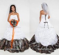 Wholesale corset gown flower skirt online - Camo Ball Gown Wedding Dresses Strapless Appliques Satin Corset Lace Up Back Camouflage Bridal Wedding Gowns Forest Sweep Train