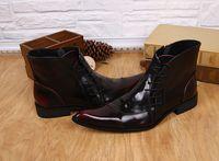 burgundy lacklederstiefel großhandel-Martin Schuhe Frühling Britischen Stil Schuhe Spitz Burgunder Männer Lackleder Stiefeletten Lace-Up Herbst Stiefel Regen Stiefel Für Männer 37-46