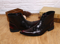 botas martin borgoña al por mayor-Martin zapatos primavera estilo británico zapatos punta estrecha hombres borgoña botines de cuero con cordones botas de otoño botas de lluvia para hombres 37-46