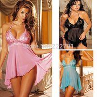 Wholesale Cheap Underwear Sleepwear - w1024 Hot Black Pink Blue Ladies Lace Sleepwear Dress Underwear Sexy Teddy Lingerie +G-String Set Cheap Price Freeshipping