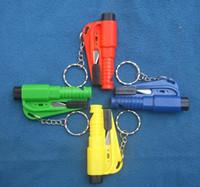 Wholesale Seat Belt Keychain - 100PCS HHA143 Car Window Glass 3 in 1 Safety Emergency Hammer Seat Belt Cutter Tool Keychain