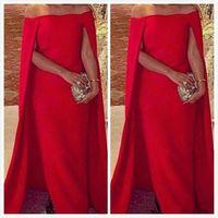 Wholesale Cape Styles - New Style Evening Dress cape Trumpet Bateau Neck Sleeveless Taffeta Full Length Formal Party Prom Dresses Custom