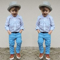 Wholesale Cool Baby Gentleman - Gentleman Fashion Two Piece Shirt + Pants Boys Clothing Sets Boy Set Cool Europe United States 2015 Baby Kids Children's Clothes