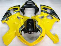 ingrosso abs stock di plastica-Spedizione gratuita + 8 regali Disponibile Carenatura in plastica ABS Giallo Nero SUZUKI GSXR600 GSXR750 2001-2003 Stampo ad iniezione per moto AY026