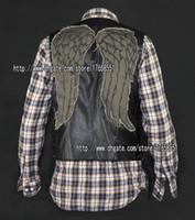 Wholesale Men S Leather Jacket 4xl - daryl dixon PU leather vest angel wings jacket Motorcycle vest