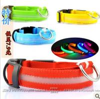 Wholesale Dog Fabric Collars Leads - hot selling 100pcs   lots s factory direct LED light -emitting pet collars dog collar luminous band