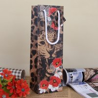 Wholesale Leopard Paper Gift Bags - Classic Leopard Print Paper Gift Bag Top Quality Red Wine Gift Bag Christmas Decoration Birthday Gift Wrap SD798