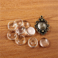 Wholesale glass spacers - (50 pcs lot) 8 10 12 14 16 18 20 25 30 35mm glass cabochon transparent clear 1 3 round cameo cover cabs glass spacers glass gem beads cy981