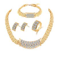 indische schmuckringe großhandel-Brautjungfer Schmuck-Set Diamant-Ringe Halskette Armband Ohrringe Hochzeit Partei Schmuck Sets indischen afrikanischen wie Dubai 18k Gold Schmuck-Sets