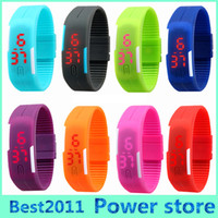 Wholesale Digital Watch Touch Led - 2015 2016 Sports rectangle led Digital Display touch screen watches Rubber belt silicone bracelets Wrist watches 2015