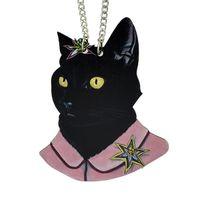 Wholesale Ethnic Pendant Necklace - New Coming Ethnic Style Black Cat Wood Pendant Necklace