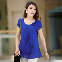 Wholesale Chiffon Blue Loose Blouse - chiffon blouse 2015 summer tops women Casual loose Blouses O-Neck Short sleeve shirt blusas plus size blusas feminina 4XL
