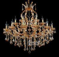 Wholesale Cristal Glass Bead - 18 lightholder chandelir crystal beads Modern pendant chandelier Amber Lighting fixture Glass Cristal Lustre for Dining Living Room