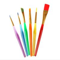 conjunto de lápices de colores de gel al por mayor-Al por mayor-6pcs / lot Colorful Nylon Handle Nail ATools Set Gel UV Builder Pinceles de Dibujo Plumas Herramienta